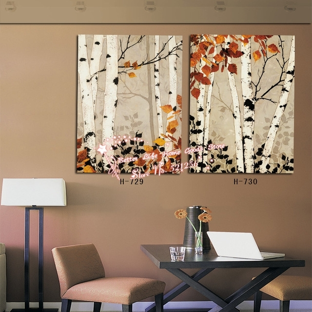 Modern Wall Art Home Decoration Printed Oil Painting Pictures 2 In Birch Trees Canvas Wall Art (Image 8 of 15)
