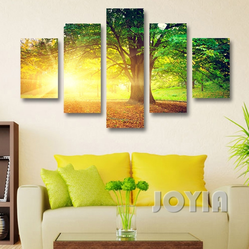 Modern Wall Decor Canvas Prints Morning Sunrise Abstract Landscape Pertaining To Abstract Nature Canvas Wall Art (View 4 of 15)