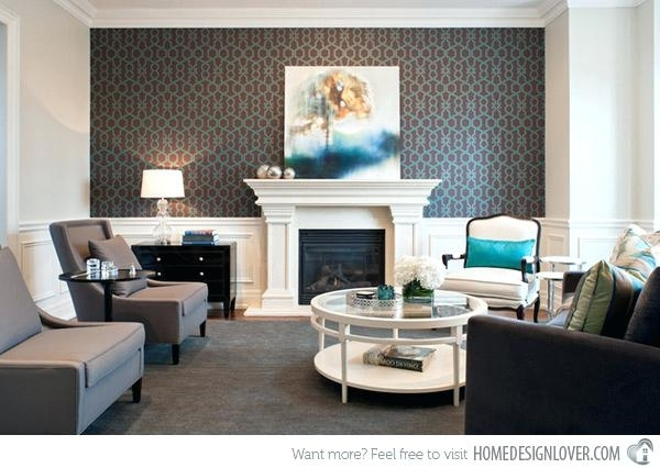 Modern Wallpaper Accent Wall Wallpapered Accent Wall Decor Pillows With Regard To Wallpaper Living Room Wall Accents (Image 9 of 15)