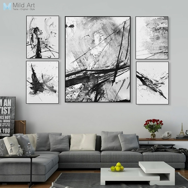 Modern Watercolor Abstract Ink Splash Big Canvas Art Poster Prints Throughout Abstract Wall Art Posters (View 13 of 15)
