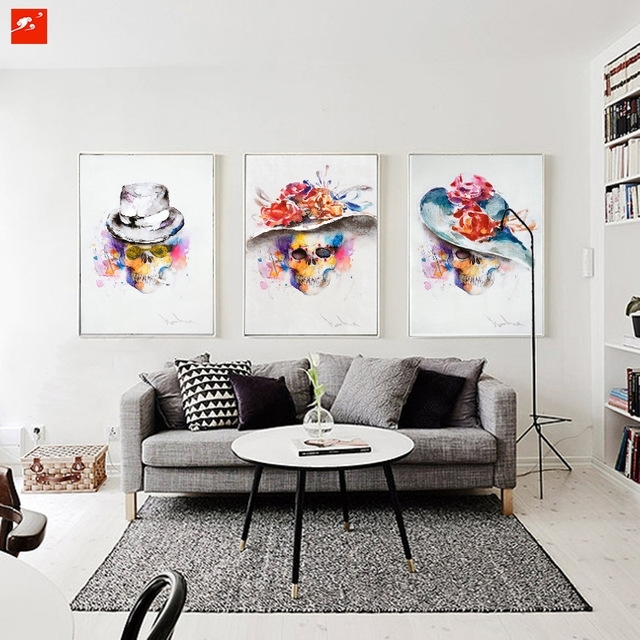 Modern Watercolour Fashion Skull Painting Set Abstract Wall Art With Regard To Bedroom Canvas Wall Art (Image 24 of 32)