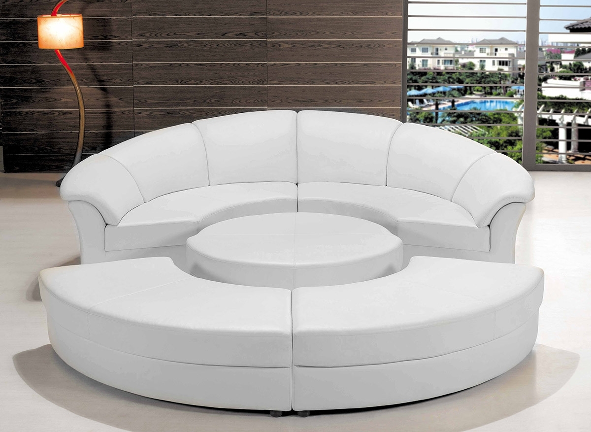 Modern White Leather Circular Sectional Sofa Regarding Circular Sectional Sofas (View 4 of 10)