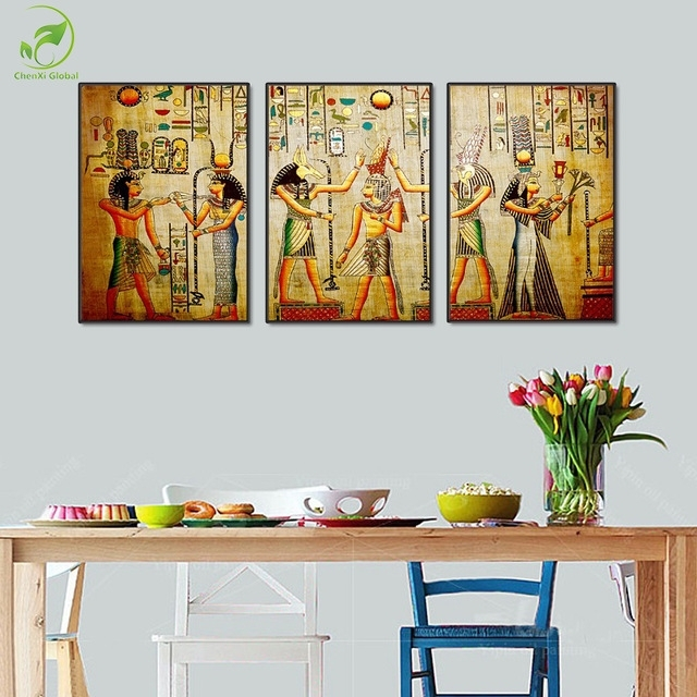 Modular 3Pcs Ancient Egypt Art Pictures Egyptian Figure Mural Throughout Murals Canvas Wall Art (View 5 of 15)