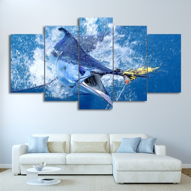Modular Canvas Wall Art Hd Printed Pictures 5 Pieces Jumping Regarding Jump Canvas Wall Art (Photo 1 of 15)