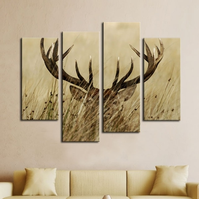 Modular Wall Art Canvas Pictures Home Decor Frames 4 Panels Deer Pertaining To Deer Canvas Wall Art (View 2 of 15)