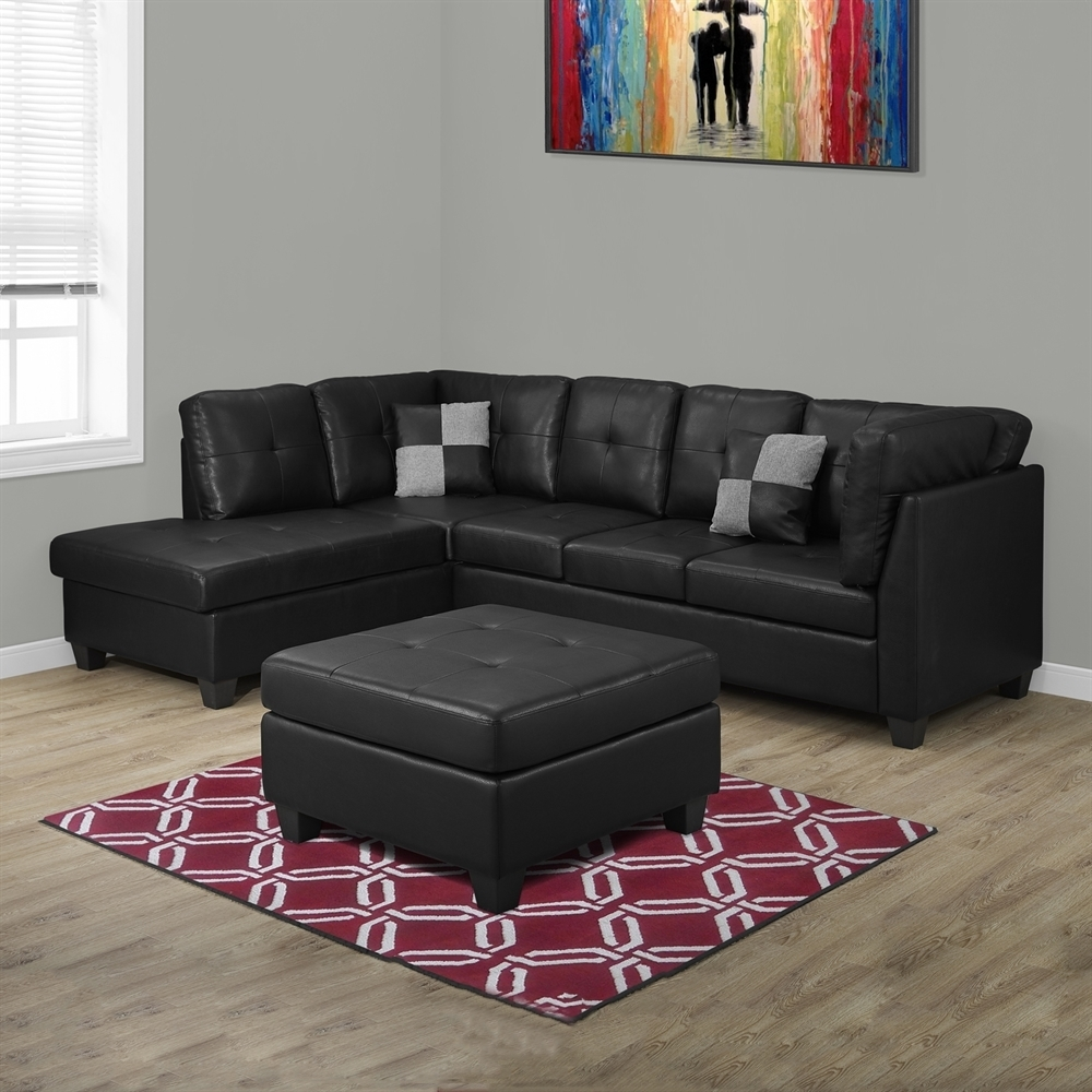 Monarch Specialties I 8375 Bonded Leather Sectional Sofa | Lowe's Canada With Regard To Sectional Sofas At Bc Canada (Image 7 of 10)