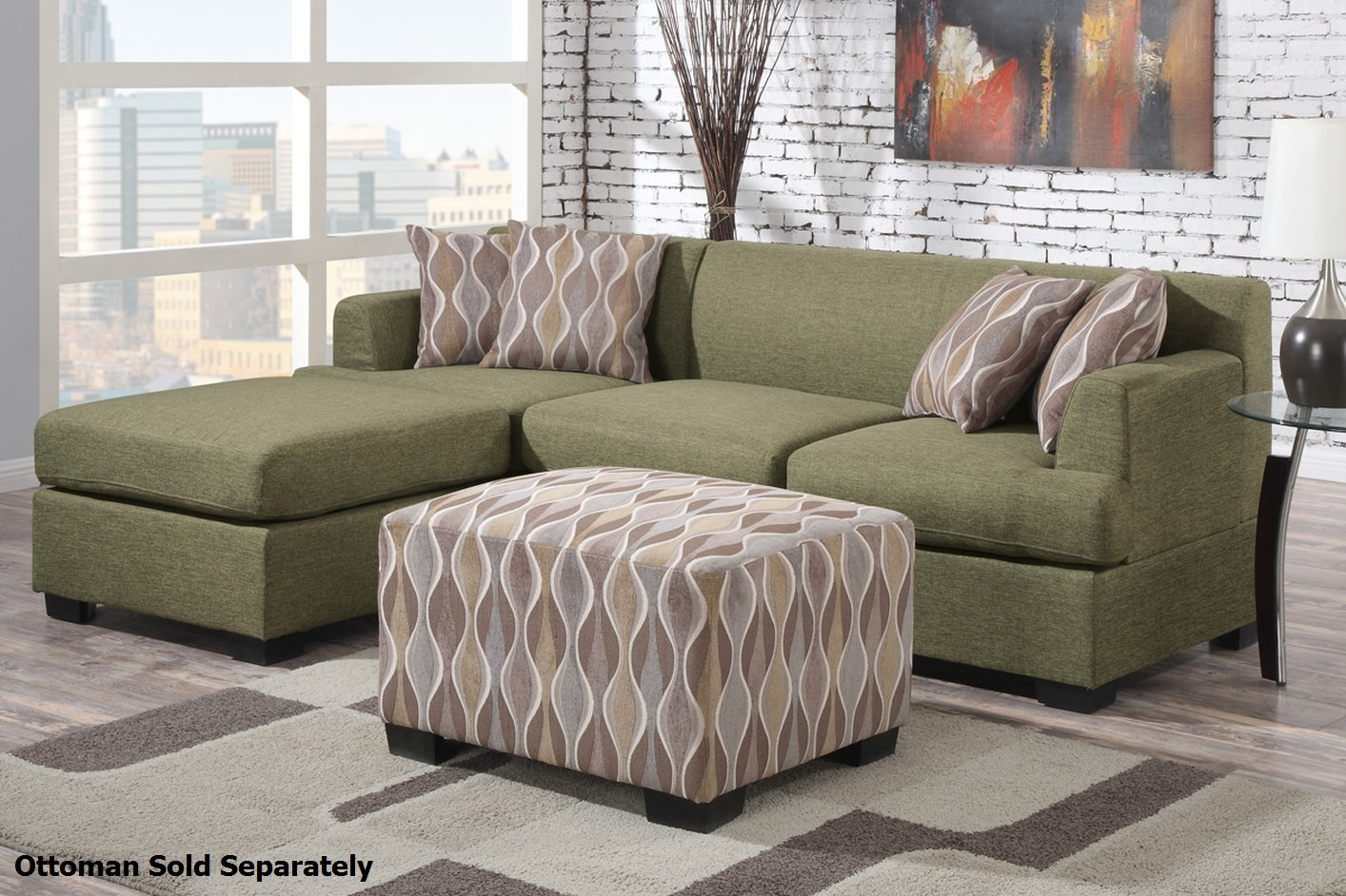Montreal Ii Green Fabric Sectional Sofa – Steal A Sofa Furniture Intended For Green Sectional Sofas With Chaise (Image 9 of 10)