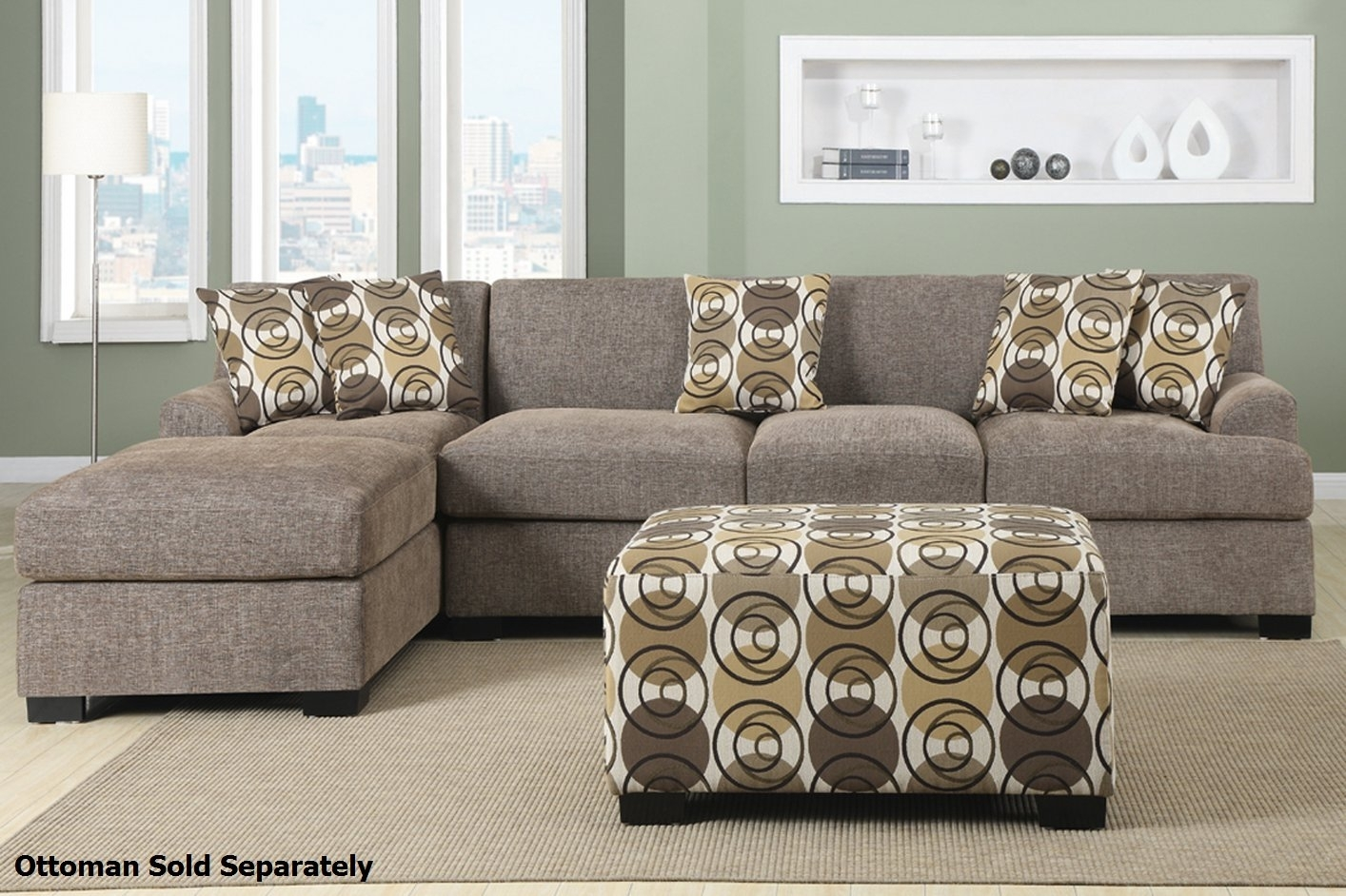 Montreal Iii Beige Fabric Sectional Sofa – Steal A Sofa Furniture Within Beige Sectional Sofas (Image 8 of 10)