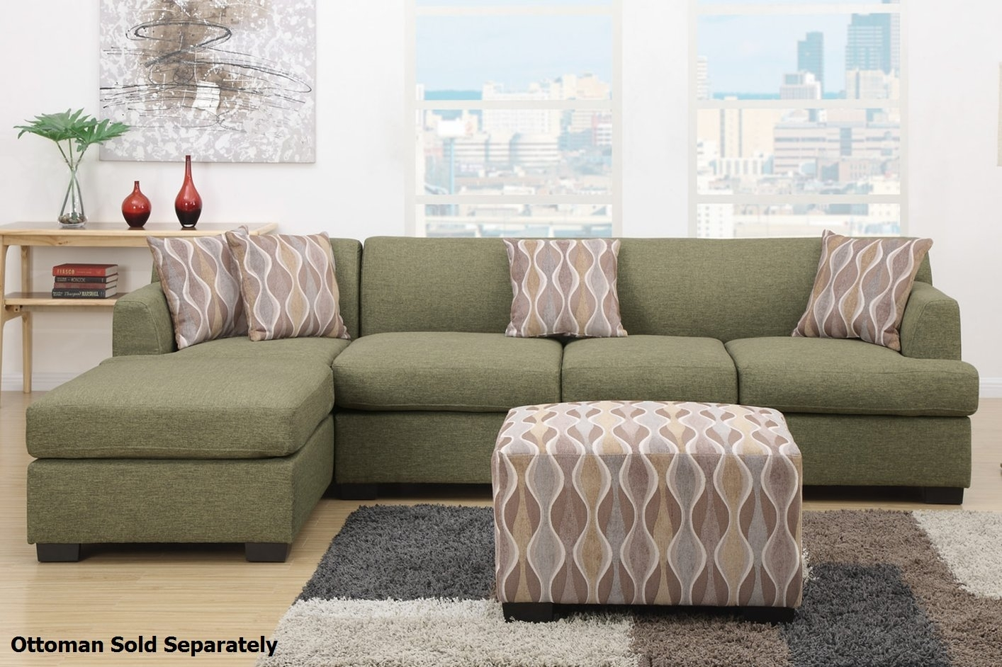 Montreal Iii Green Fabric Sectional Sofa – Steal A Sofa Furniture Intended For Montreal Sectional Sofas (View 2 of 10)