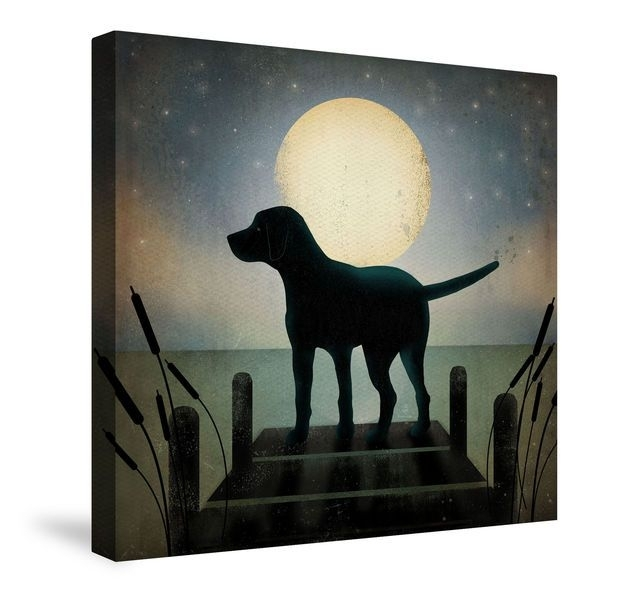 Moonrise Black Dog Canvas Wall Art | Dogs And Animals | Pinterest With Regard To Dogs Canvas Wall Art (View 10 of 15)