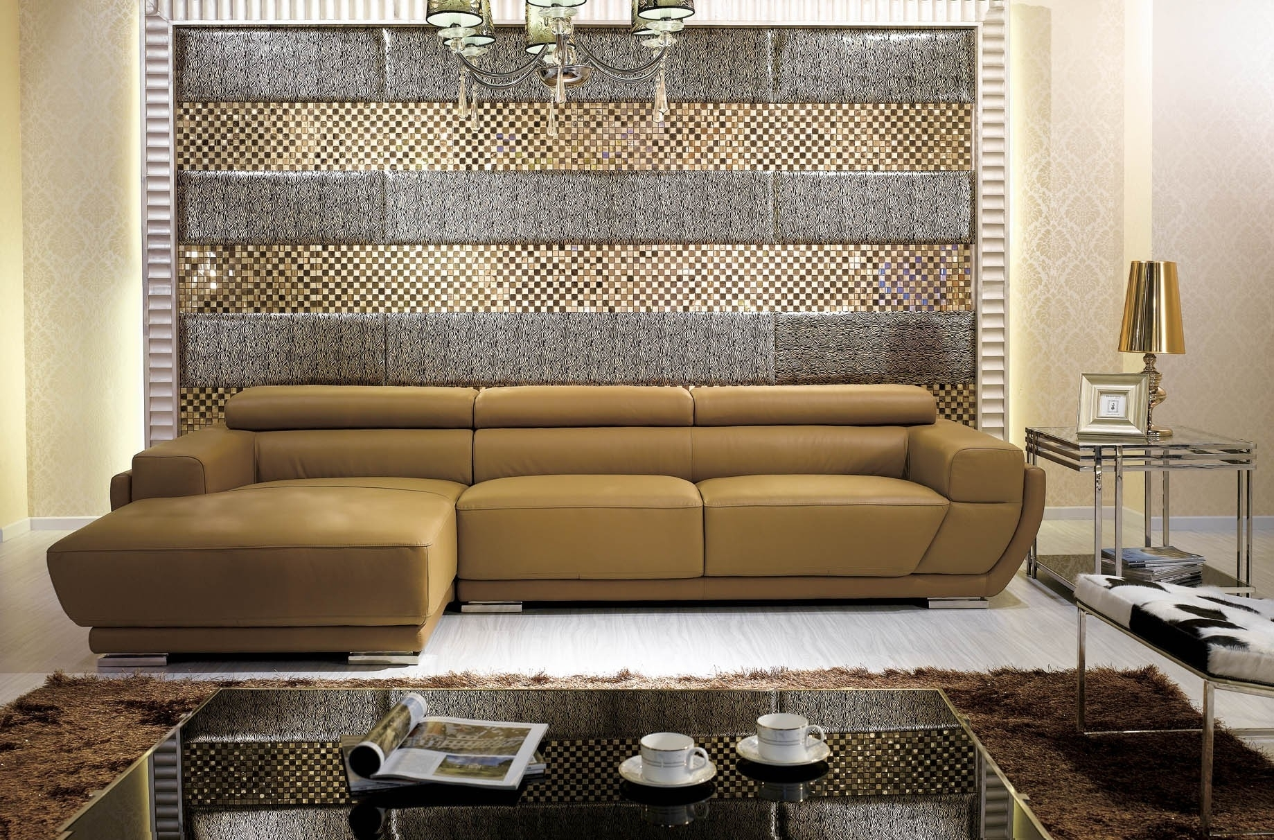 More Views K Modern Camel Italian Leather Sectional Sofa | Modern Throughout Camel Sectional Sofas (View 9 of 10)