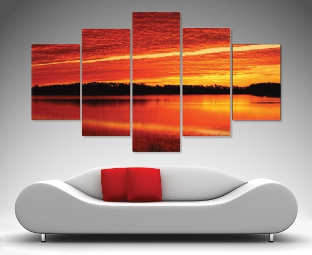 Morning Flames 5 Panel Wall Art – Canvas Prints Australia With Brisbane Canvas Wall Art (Image 15 of 15)