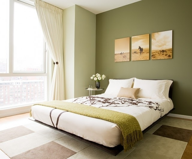 Most Serene Bedroom Paint Colors |  Green Accent Wall Is Pertaining To Green Wall Accents (Image 12 of 15)