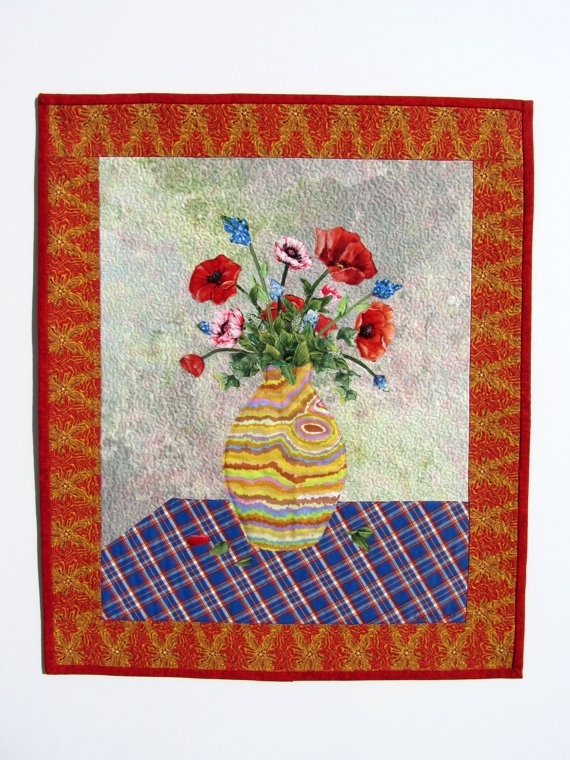 Mother's Day Quilt Vase Of Flowers Wall Pertaining To Fabric Collage Wall Art (Image 12 of 15)