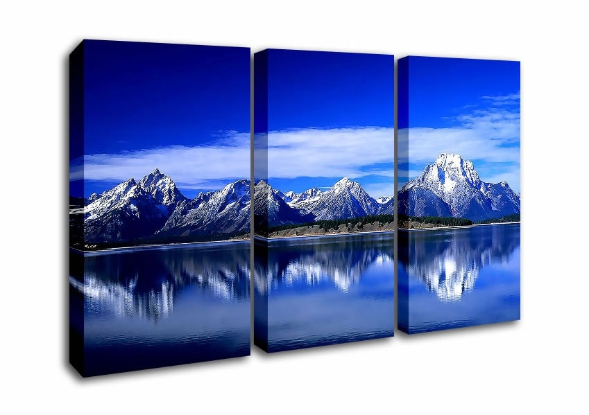 Mountain Three Panel Blue Mountains Reflecting In The Water Canvas Regarding Mountains Canvas Wall Art (View 9 of 15)