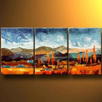 Mountains In Autumn Modern Canvas Art Wall Decor Landscape Oil In Mountains Canvas Wall Art (View 14 of 15)