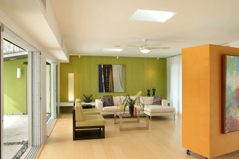 Movable Walls Mode Miami Contemporary Living Room Decorating Ideas Throughout Green Wall Accents (View 15 of 15)