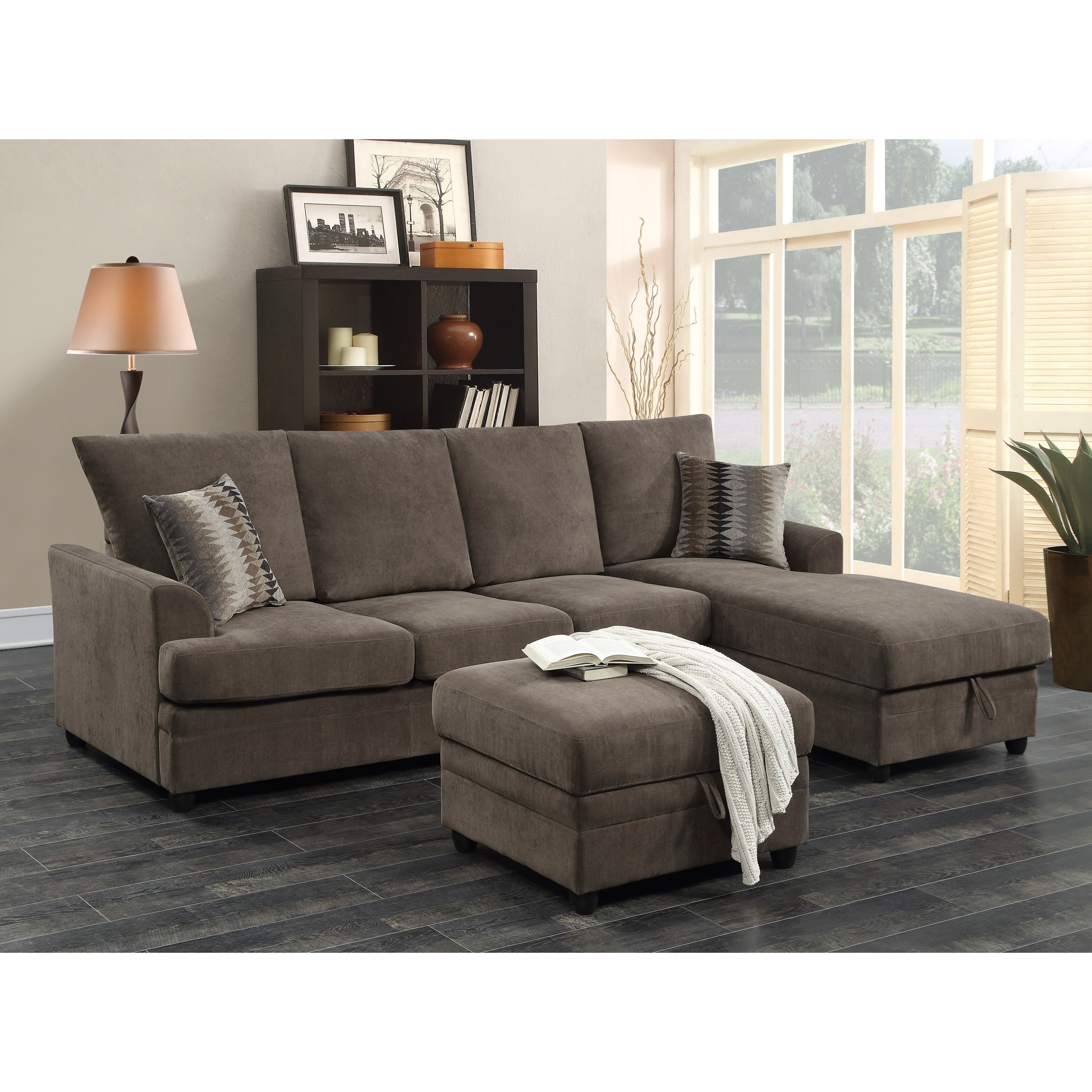 Moxie Chocolate Sectional Sofa With Sleeper | Quality Furniture At Regarding Philadelphia Sectional Sofas (Image 3 of 10)