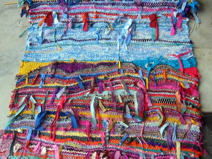 Multicoloured Fibre Art Hand Woven Ribbon Weaving Wall Hanging Pertaining To Woven Textile Wall Art (Image 8 of 15)