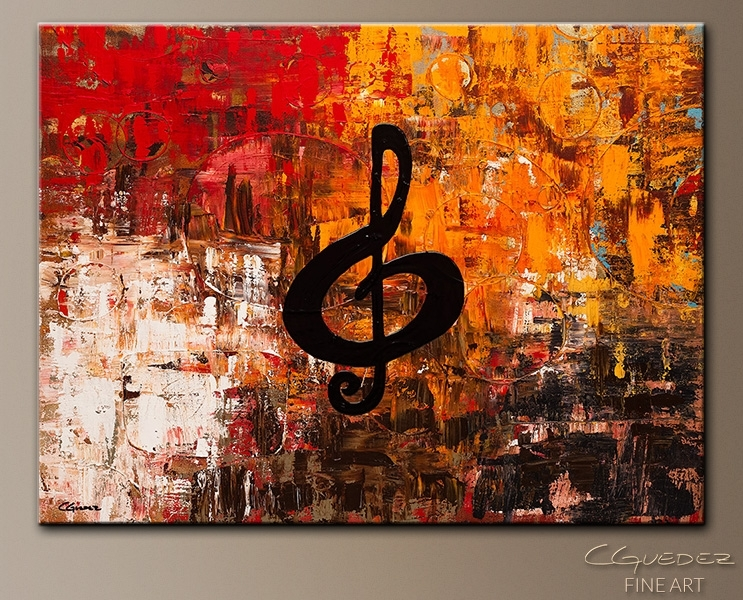 Music Art|Contemporary Abstract Art|Viola|Jazz|Guitarra|Violin Pertaining To Jazz Canvas Wall Art (View 4 of 15)