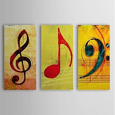 Music Note Music Oil Painting Wall Art Modern Canvas Art Wall Within Music Canvas Wall Art (Image 7 of 15)