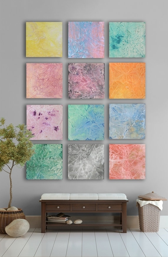 My Artwork  Multicolor Pastel Abstract Art Painting, – 11 Square Throughout Pastel Abstract Wall Art (Image 10 of 15)