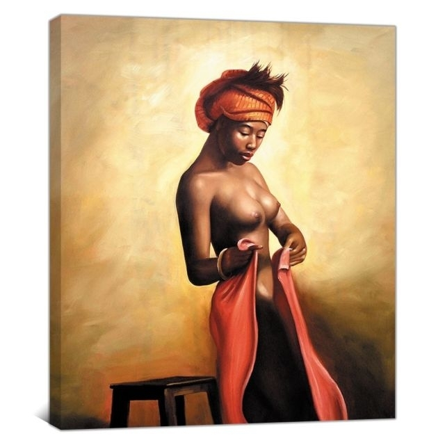 Naked African Americans Girl Printed Painting On Canvas Wall Art For Framed African American Art Prints (View 6 of 15)