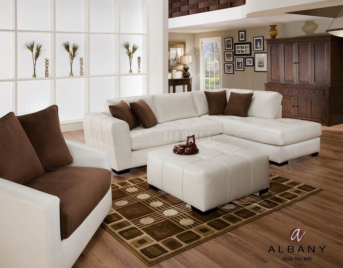 Naples White Leatherette Modern Sectional Sofa W/optional Items With Naples Fl Sectional Sofas (View 4 of 10)
