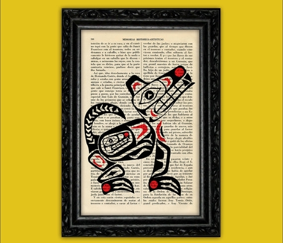 Native American Art Wolf Dictionary Art Print Tribal Symbols Pertaining To American Folk Art Framed Prints (View 4 of 15)