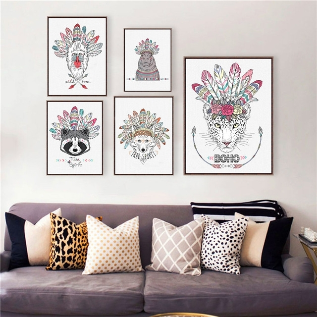 Native American Poster Art Prints , Hand Drawn Aztec Style Animal Within Ethnic Canvas Wall Art (View 9 of 15)