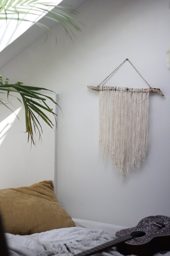 Natural Driftwood Wall Hanging + Botanical Wallpaper | Driftwood Intended For Dreamcatcher Fabric Wall Art (Image 12 of 15)