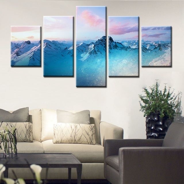 Natural Landscape Paintings Wall Art Snowy Mountains Cloudy Sky 5 In Mountains Canvas Wall Art (View 12 of 15)
