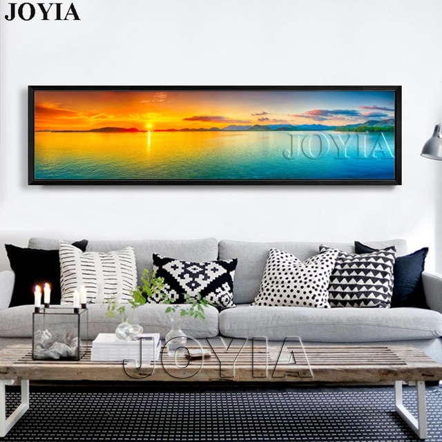 Nature Canvas Wall Art Landscape Painting Large Sunset Sea Throughout Panoramic Canvas Wall Art (Image 6 of 15)