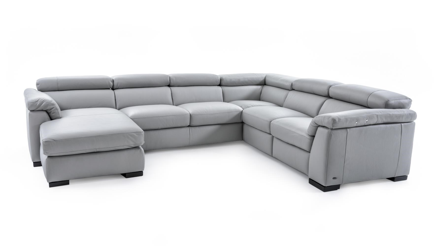 Natuzzi Editions B634 B634 Sect 1 Gray Contemporary Leather With Regard To Natuzzi Sectional Sofas (Image 2 of 10)