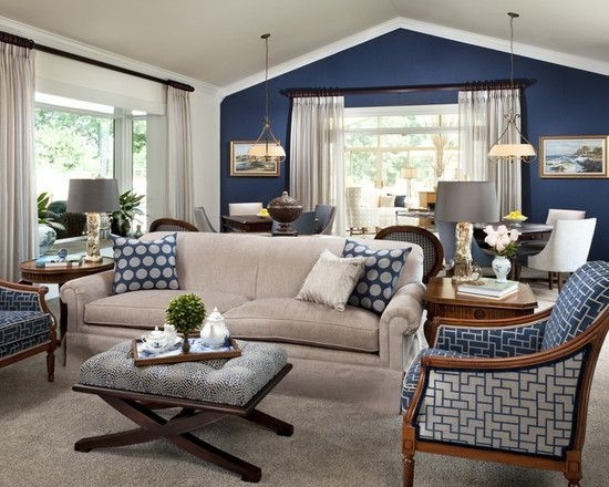 Navy Accent Wall, White Trim, Light Curtains With Dark Rods, Light Regarding Light Blue Wall Accents (Image 15 of 15)