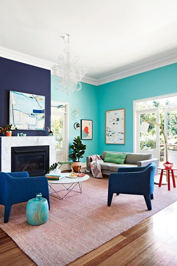 Navy Blue Accent Wall Color With Teal Paint Color For Relaxing In Wall Accents Color Combinations (View 2 of 15)