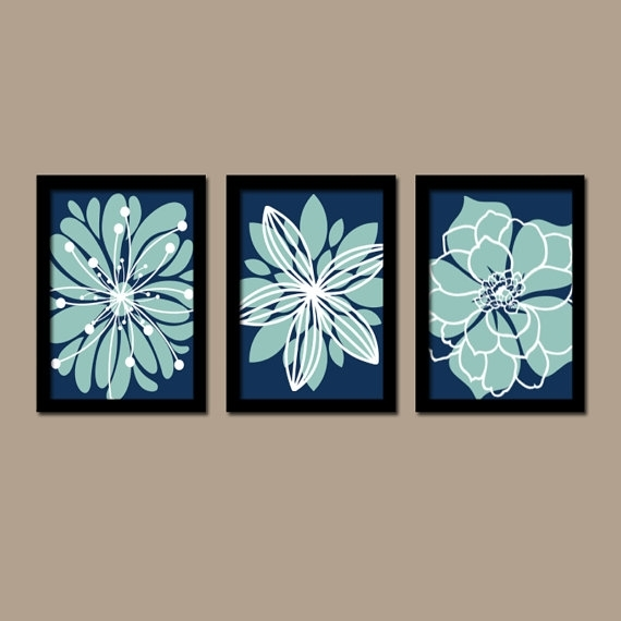 Navy Blue Aqua Wall Art Bedroom Pictures Canvas Or Prints Throughout Navy Canvas Wall Art (View 13 of 15)