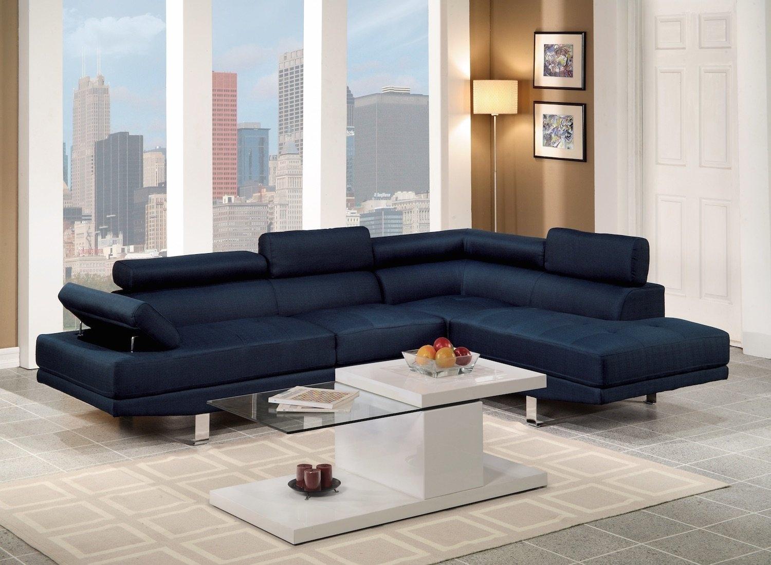 Navy Blue Sectional Sofa | Wayfair in Adjustable Sectional Sofas With Queen Bed