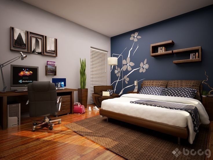 Navy Paint Bedroom Gray Accent – Google Search … | Pinteres… Within Wall Accents For Blue Room (View 4 of 15)