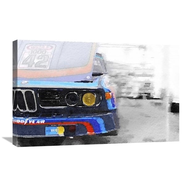 Naxart Studio 'bmw Lamp And Grill Watercolor' Stretched Canvas Within Bmw Canvas Wall Art (Image 12 of 15)