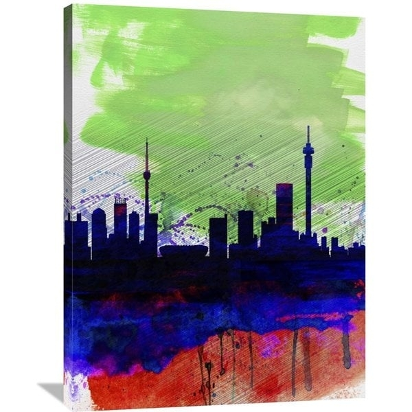 Naxart Studio 'johannesburg Watercolor Skyline' Stretched Canvas In Johannesburg Canvas Wall Art (View 6 of 15)