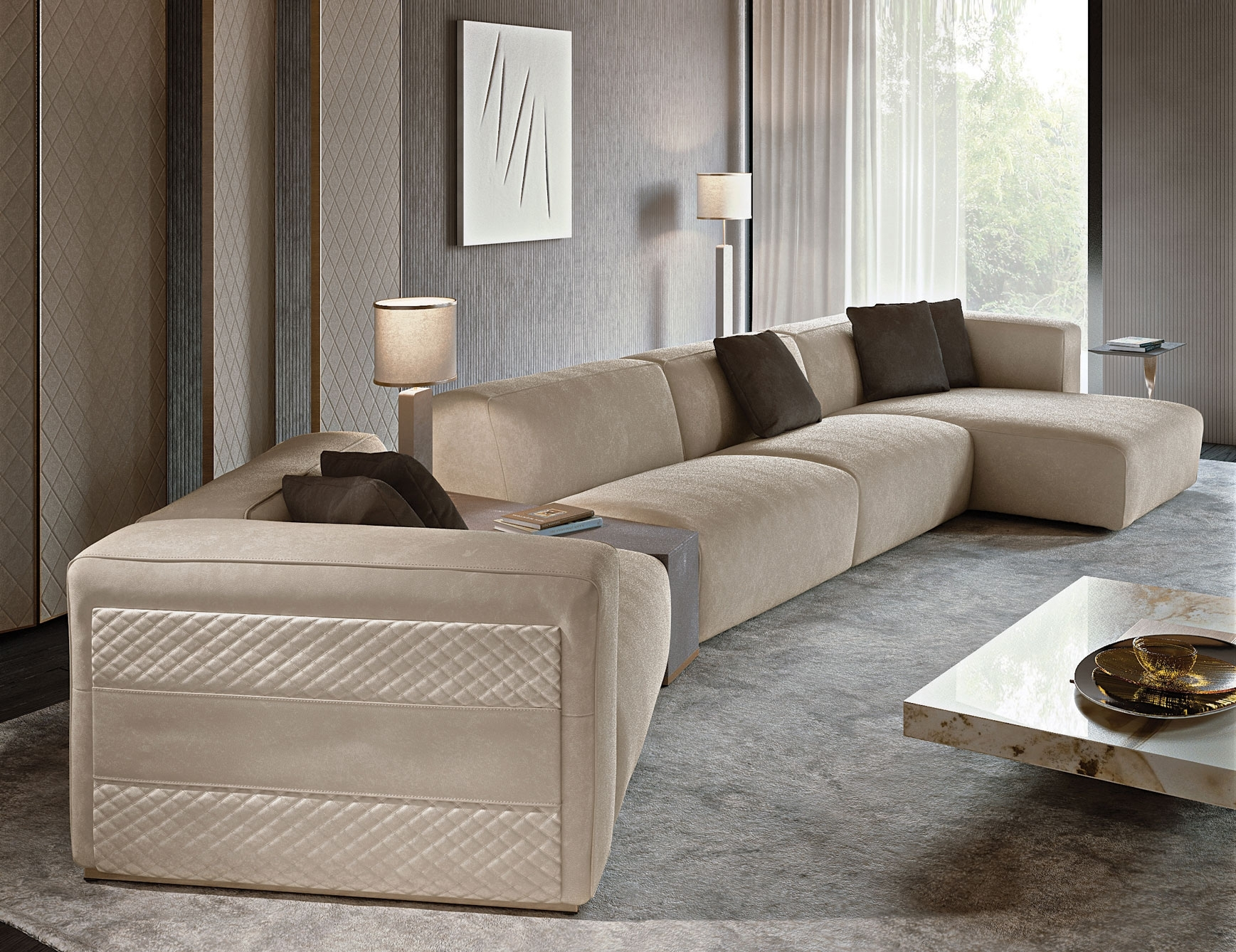 Nella Vetrina Rugiano Freud Sectional Sofa In Suede Regarding High End Sectional Sofas (Image 8 of 10)