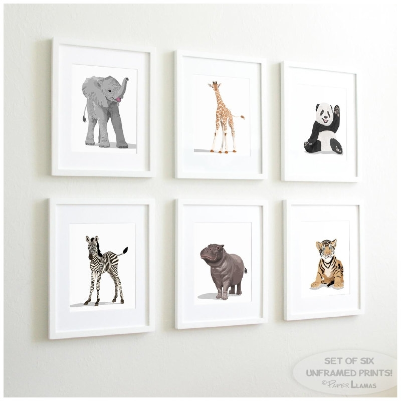 Neutral Nursery Decor Set Of 3 Prints Baby Animalsvalrart With Regard To Framed Art Prints Sets (Image 9 of 15)