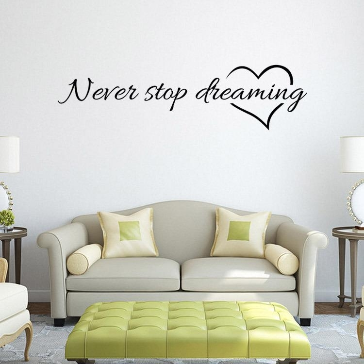 Never Stop Dreaming Quote Wall Stickers Rome Decor Removable Vinyl In Vinyl Wall Accents (Image 8 of 15)