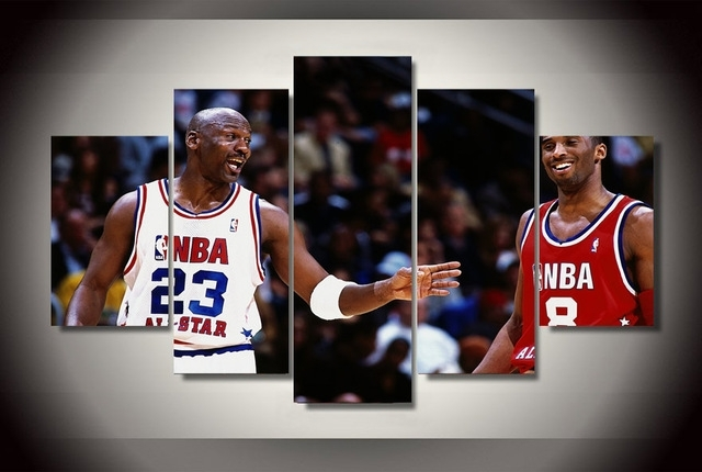 New 5 Pieces/sets Canvas Art Hd Michael Jordan Canvas Paintings In Michael Jordan Canvas Wall Art (Image 11 of 15)