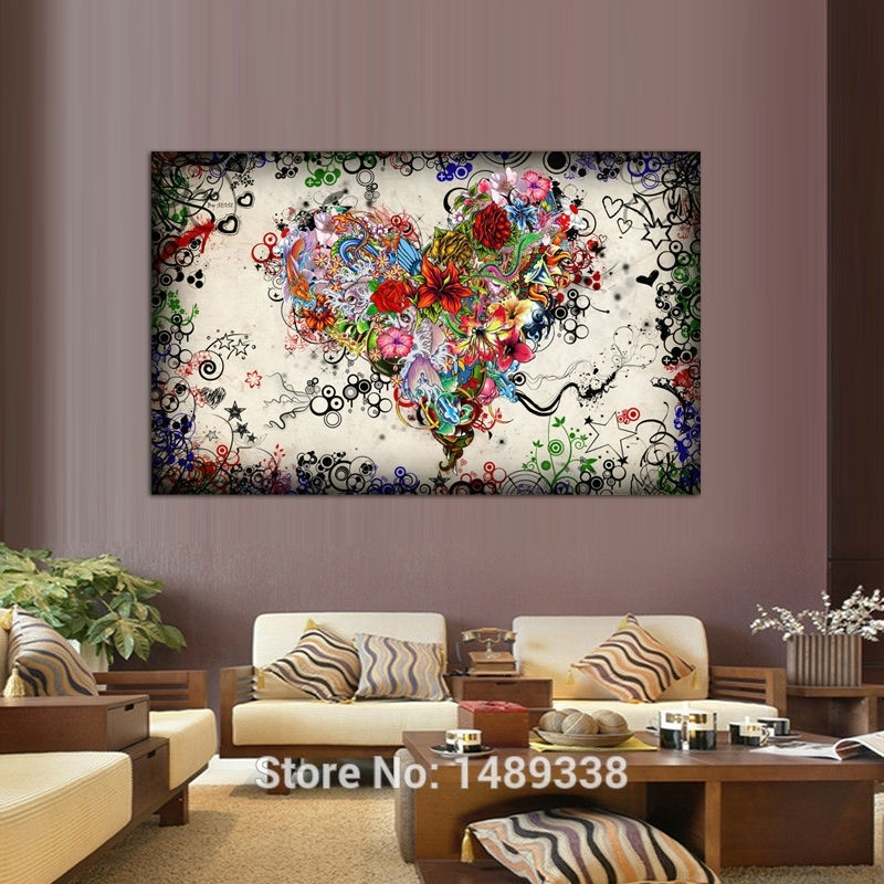 New Arrived Modern Wall Art Heart Flowers Painting On Canvas For Hearts Canvas Wall Art (Image 10 of 15)