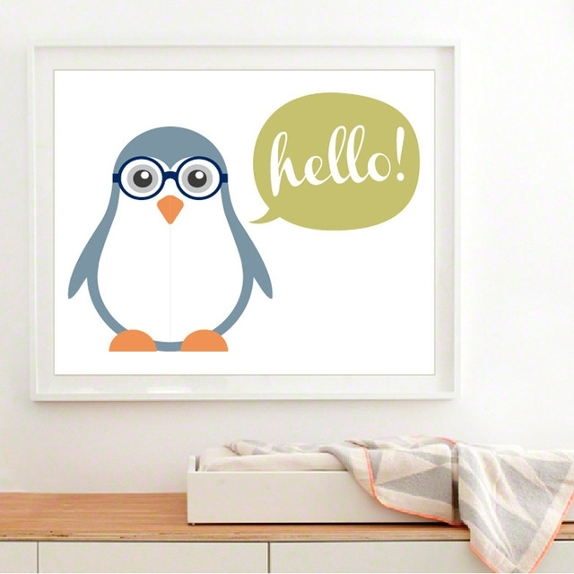 New Cute Baby Penguin Canvas Painting Art Modern Nursery Wall For Modern Nursery Canvas Wall Art (Image 7 of 15)