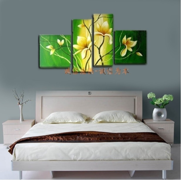 New Decorative Painting Handpainted Modern Yellow Flower Mural Pertaining To Murals Canvas Wall Art (View 4 of 15)
