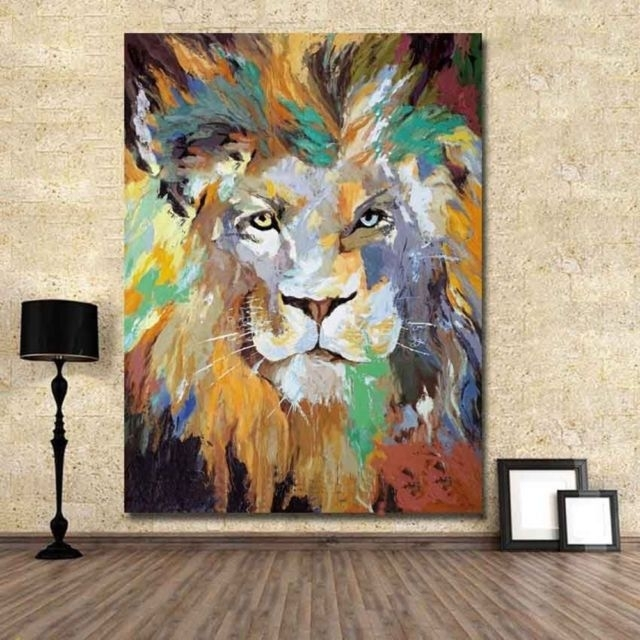 New Hand Painted Abstract Oil/acrylic Canvas Painting Wall Pop Art Throughout Abstract Lion Wall Art (Image 13 of 15)