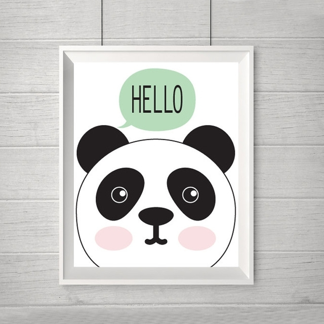 New Hello Panda Cartoon Canvas Oil Painting Nursery Modern Wall In Modern Nursery Canvas Wall Art (Image 9 of 15)